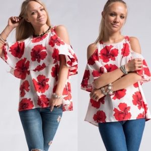 Fashionomics Tops - Big Red Floral Print Cold Shoulder Top NEW